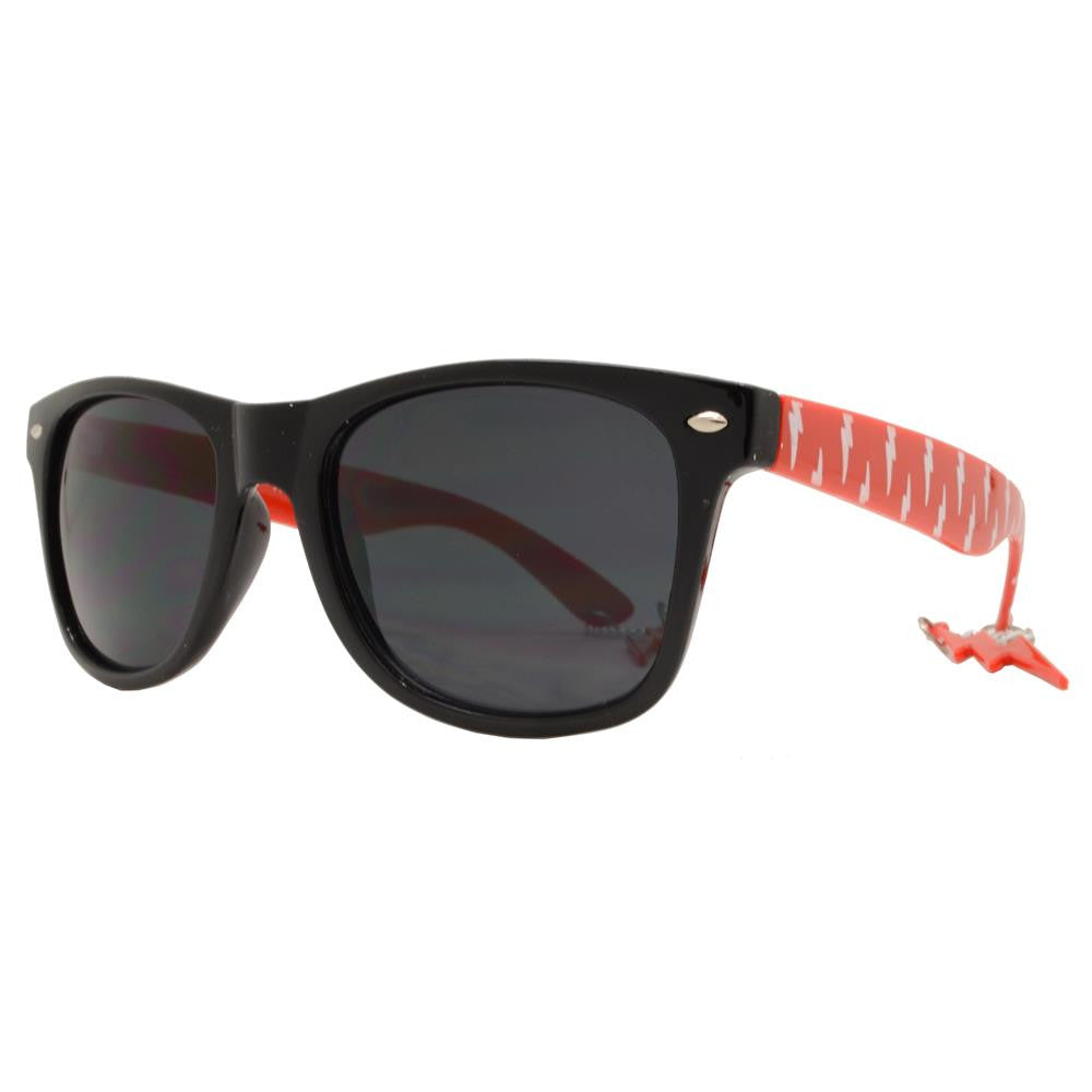 Wholesale - 7753 - Classic Horn Rimmed Sunglasses with Thunderbolt Design Temple - Dynasol Eyewear