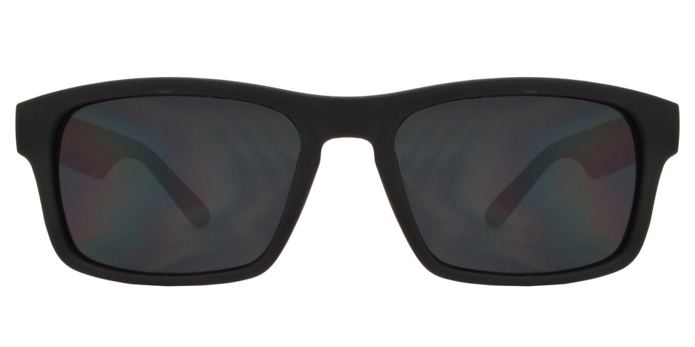 Wholesale - 7757 Black SFT - Black Rectangular Soft Rubber Sports Sunglasses - Dynasol Eyewear