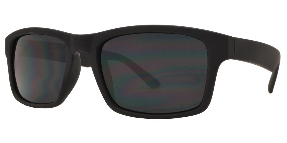 7757 Black SFT - Black Rectangular Soft Rubber Sports Sunglasses - Dynasol Wholesale Sunglasses