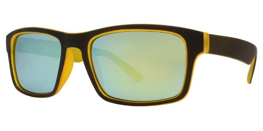 Wholesale - 7757 RVC SFT - Rectangular Sports Soft Rubber Sunglasses with Color Mirror Lens - Dynasol Eyewear