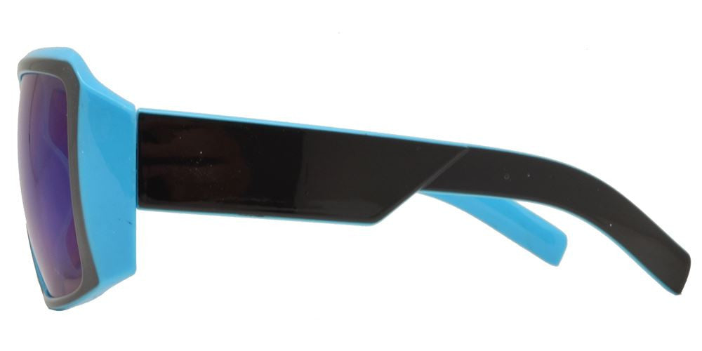 Wholesale - 7766 Color RVC - Oversize Square Chunky Sunglasses with Color Mirror Lens - Dynasol Eyewear