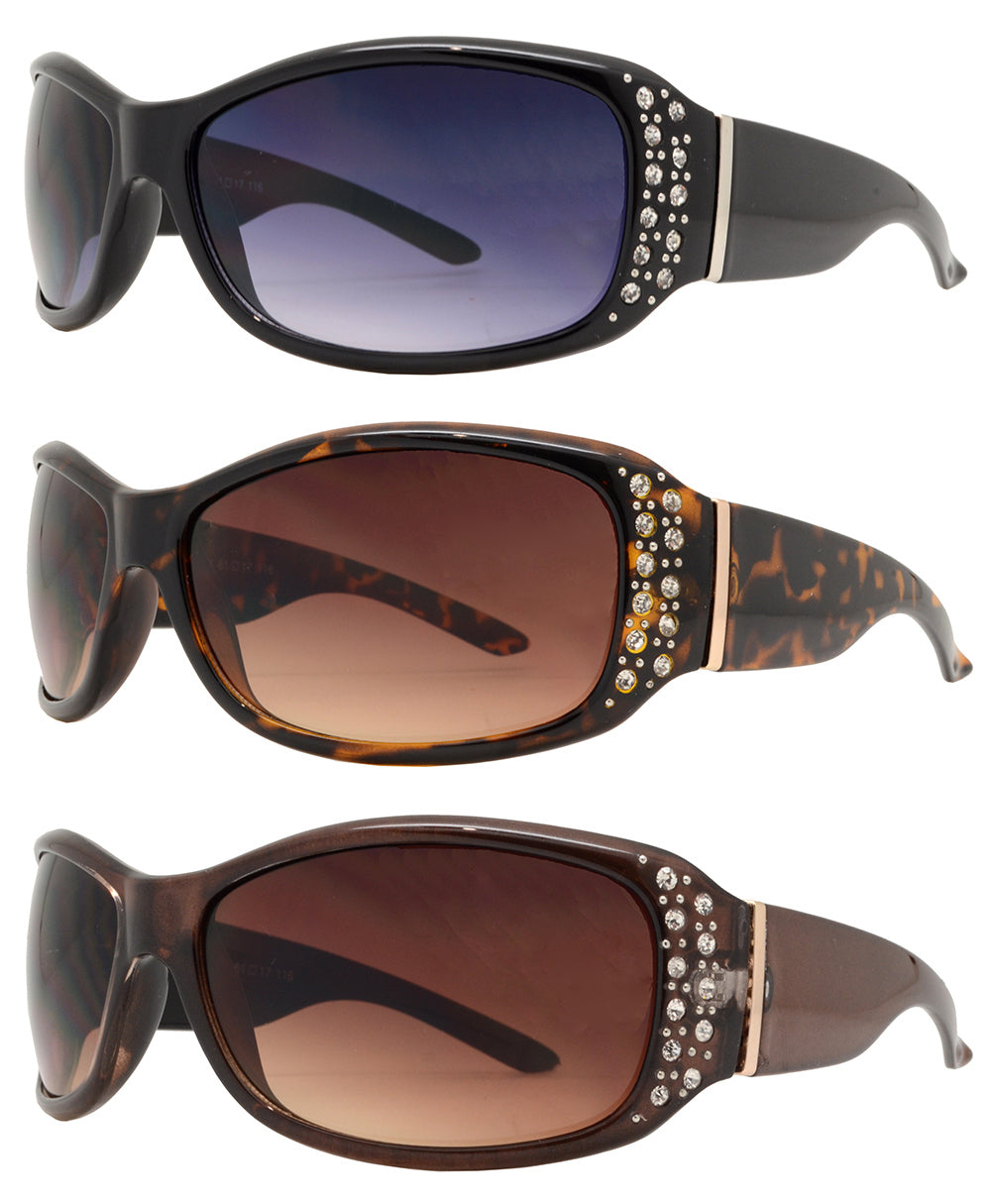 Dynasol Eyewear - Wholesale Sunglasses - 7808 BX - Women's Rectangular Fashion Sunglasses with Rhinestones - sunglasses
