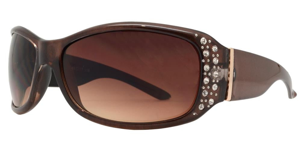 Wholesale - 7808 BX - Women's Rectangular Fashion Sunglasses with Rhinestones - Dynasol Eyewear
