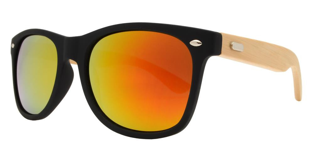 Wholesale - 7840 RVC - Horn Rimmed Bamboo Temple Sunglasses with Color Mirror Lens - Dynasol Eyewear