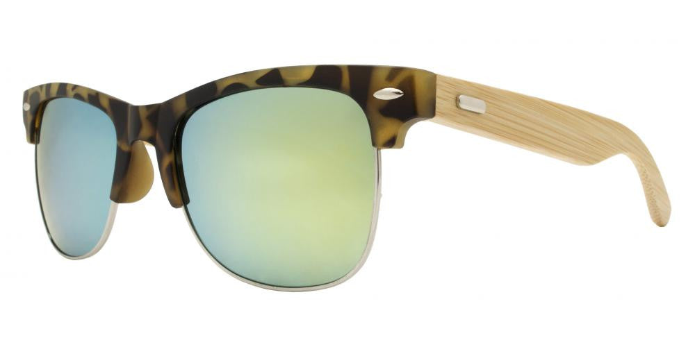 Dynasol Eyewear - Wholesale Sunglasses - 7842 RVC - Horn Rimmed Half Frame Bamboo Temple Sunglasses with Color Mirror Lens - sunglasses