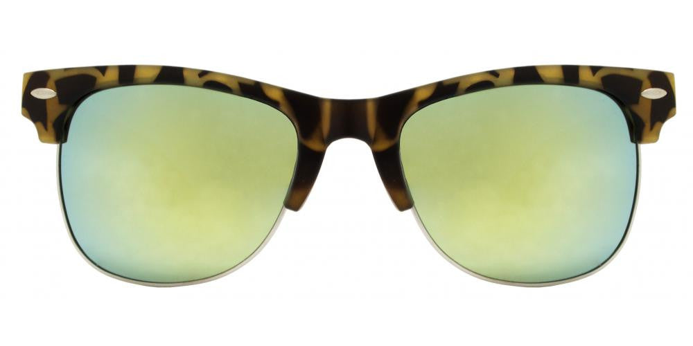 Wholesale - 7842 RVC - Horn Rimmed Half Frame Bamboo Temple Sunglasses with Color Mirror Lens - Dynasol Eyewear