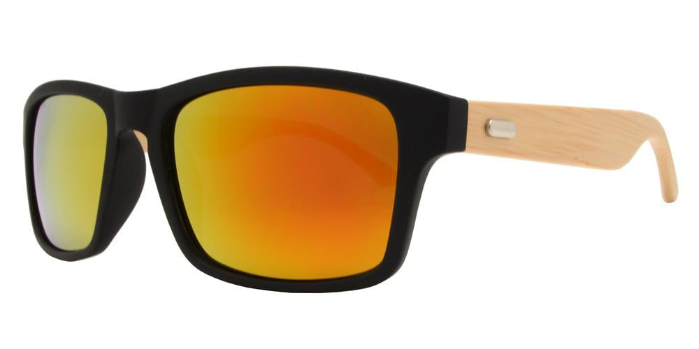 Wholesale - 7843 RVC - Rectangular Horn Rimmed Sunglasses with Bamboo Temple and Color Mirror Lens - Dynasol Eyewear
