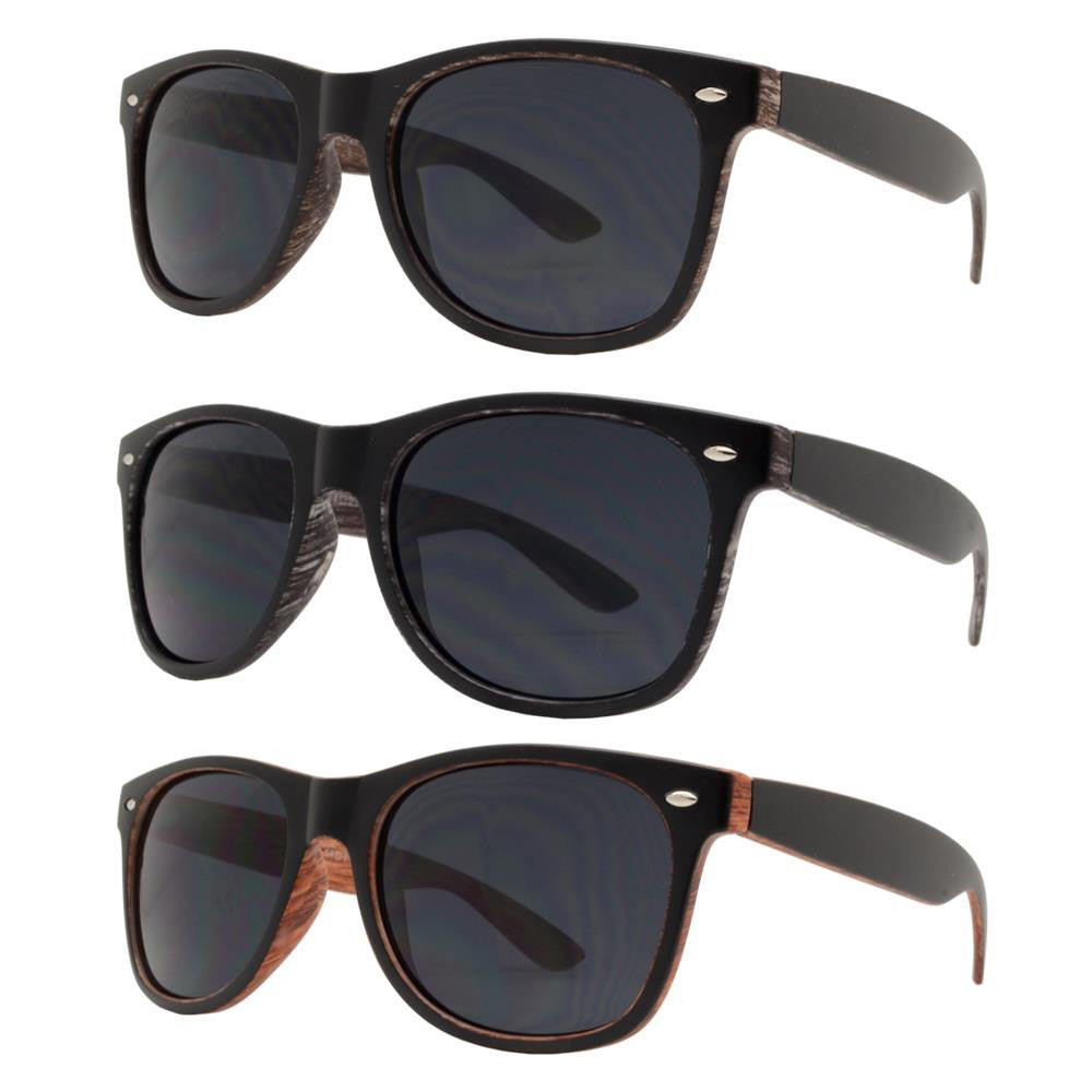 Wholesale - 7855 - Classic Horn Rimmed Faux Wood Finish Sunglasses - Dynasol Eyewear