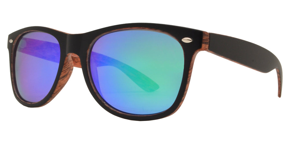 Dynasol Eyewear - Wholesale Sunglasses - 7855 Spectrum - Classic Horn Rimmed Faux Wood Finish with Color Mirror Lens - sunglasses