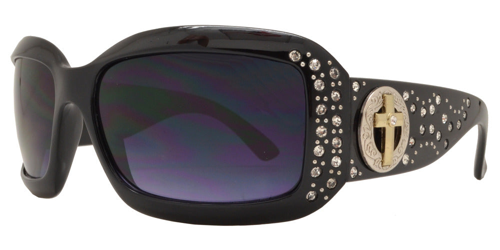 Wholesale - 7866 BX - Women's Rectangular Fashion Sunglasses with Rhinestones and Cross Concho - Dynasol Eyewear