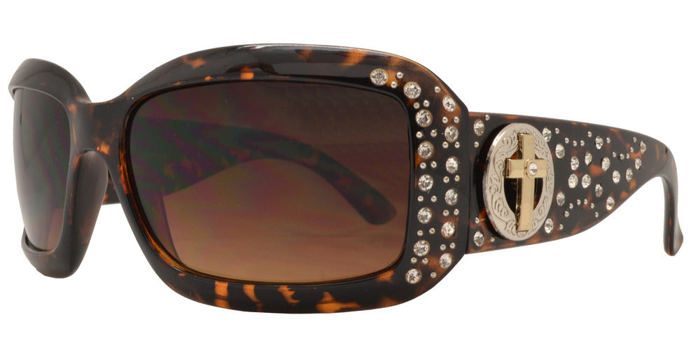 Dynasol Eyewear - Wholesale Sunglasses - 7866 BX - Women's Rectangular Fashion Sunglasses with Rhinestones and Cross Concho - sunglasses