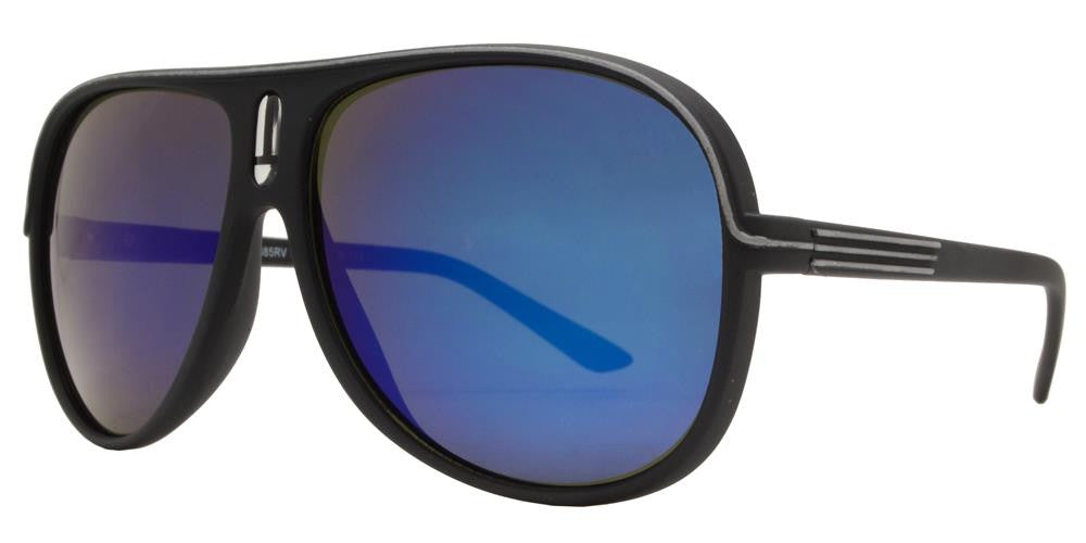 Wholesale - 7885 RVC SFT - Retro Soft Rubber Stripped Sunglasses with Color Mirror Lens - Dynasol Eyewear