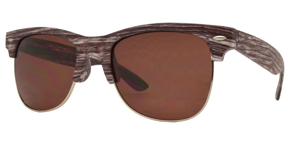 Dynasol Eyewear - Wholesale Sunglasses - 7912 - Horn Rimmed Half Frame Faux Wood Plastic Sunglasses - sunglasses