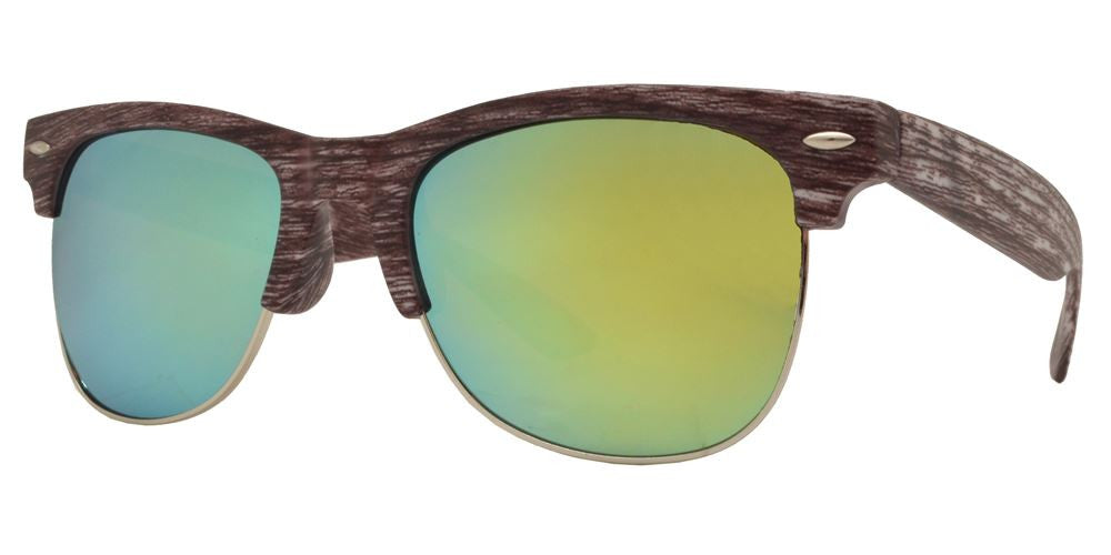 Wholesale - 7912 M - Horn Rimmed Half Frame Faux Wood Sunglasses with Color Mirror Lens - Dynasol Eyewear