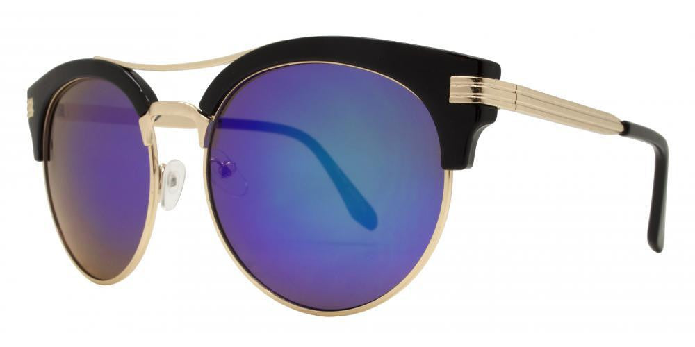 Wholesale - 7945 RVC -Retro Round with Brow bar Metal Sunglasses - Dynasol Eyewear