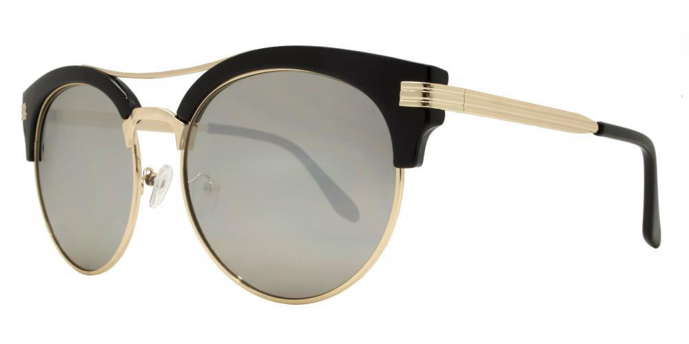 Dynasol Eyewear - Wholesale Sunglasses - 7945 RVC -Retro Round with Brow bar Metal Sunglasses - sunglasses