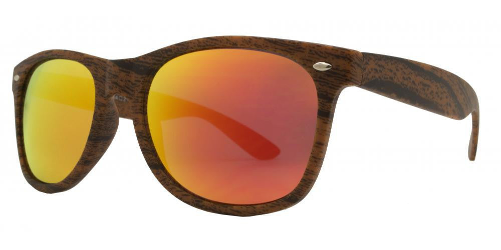 Dynasol Eyewear - Wholesale Sunglasses - 7947 RVC - Classic Horn Rimmed Faux Wood Sunglasses with Color Mirror Lens - sunglasses