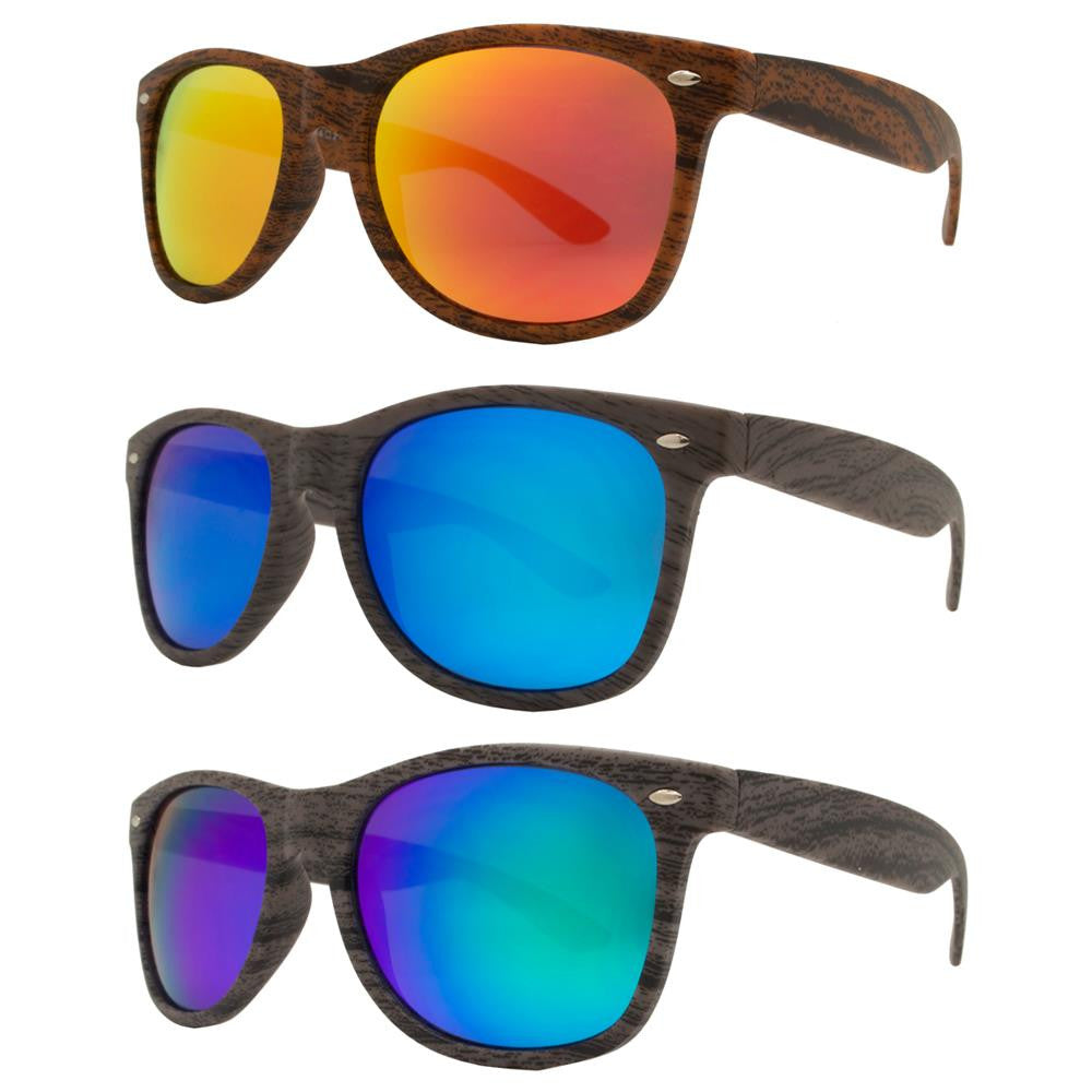 Wholesale - 7947 RVC - Classic Horn Rimmed Faux Wood Sunglasses with Color Mirror Lens - Dynasol Eyewear