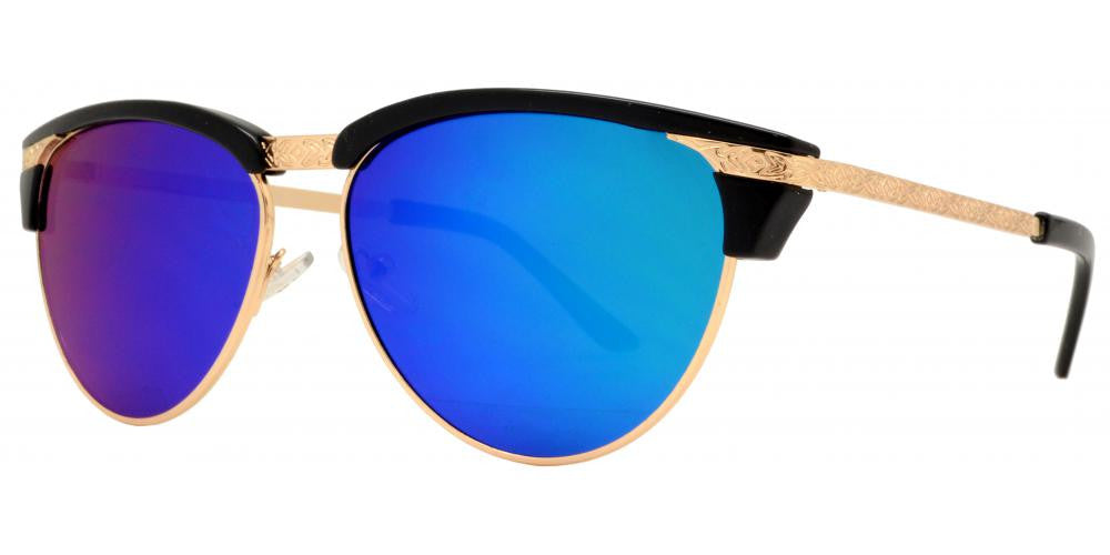 Wholesale - 7948 RVC - Oval Half Frame Cat Eye Detail Frame Sunglasses with Color Mirror Lens - Dynasol Eyewear