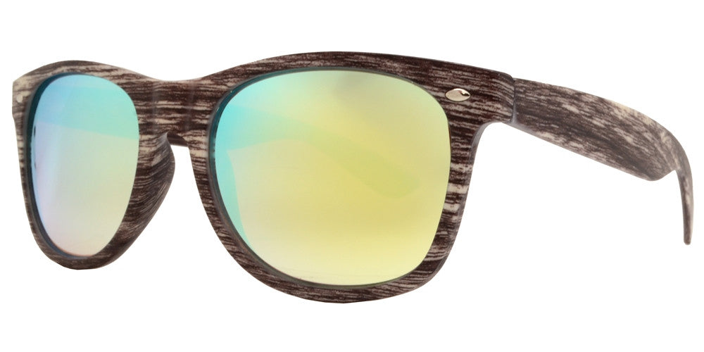 Dynasol Eyewear - Wholesale Sunglasses - 7952 RVC - Classic Horn Rimmed Faux Wood Sunglasses with Color Mirror Lens - sunglasses