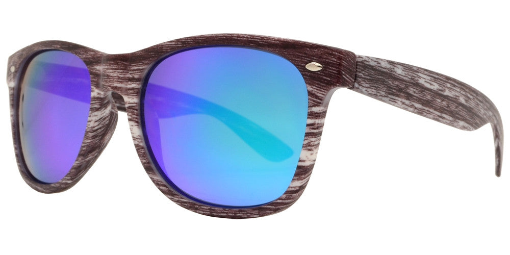Wholesale - 7952 RVC - Classic Horn Rimmed Faux Wood Sunglasses with Color Mirror Lens - Dynasol Eyewear