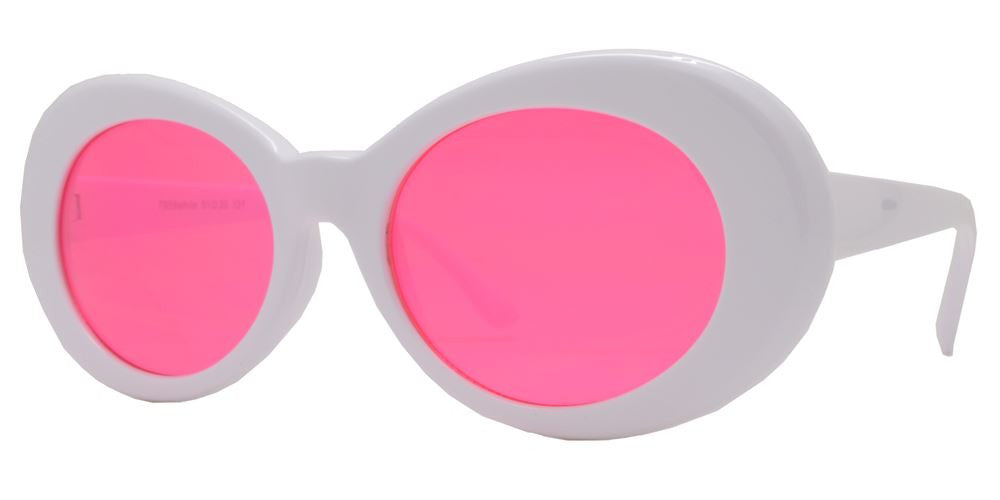 Wholesale - 7959 White - Retro 90s Fashion White Clout Sunglasses - Dynasol Eyewear