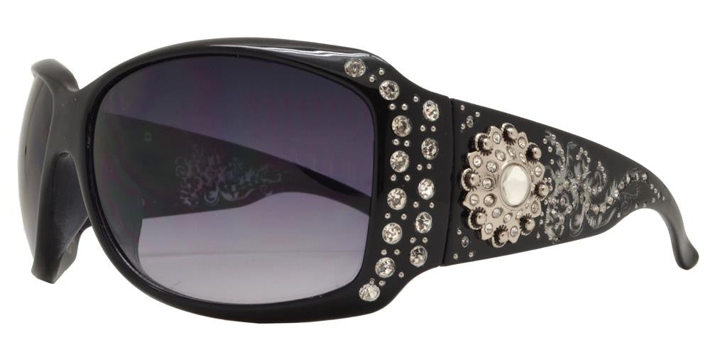 Dynasol Eyewear - Wholesale Sunglasses - 8112 - Women's Large Square Sunglasses with Rhinestones and Berry Concho - sunglasses