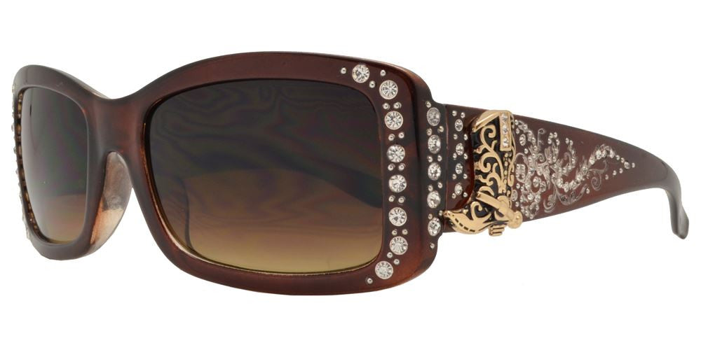 Dynasol Eyewear - Wholesale Sunglasses - 8114 - Women's Rectangular Sunglasses with Rhinestones and Boot Concho - sunglasses