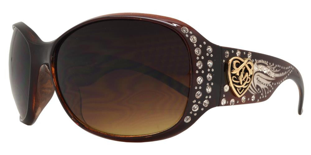 Dynasol Eyewear - Wholesale Sunglasses - 8115 - Women's Square Sunglasses with Rhinestones and Heart Concho - sunglasses