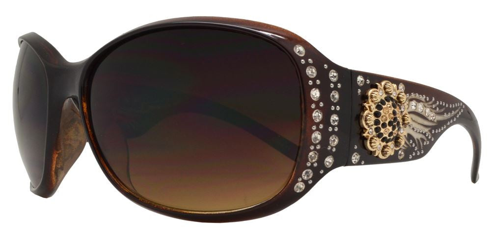 Wholesale - 8116 - Women's Oval Fashion Sunglasses with Rhinestones and Berry Concho - Dynasol Eyewear