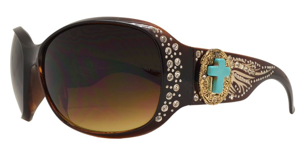 Wholesale - 8120 - Women's Large Square Sunglasses with Rhinestones and Blue Cross Concho - Dynasol Eyewear