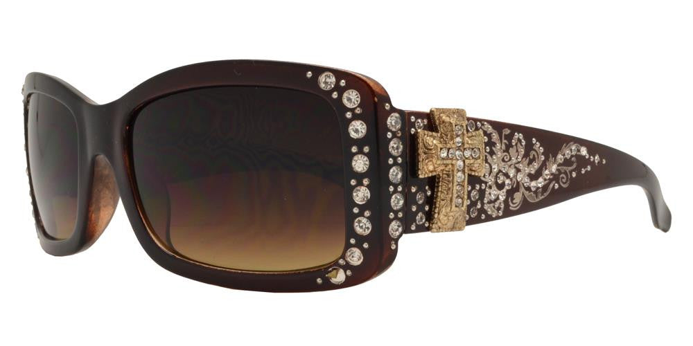 Dynasol Eyewear - Wholesale Sunglasses - 8121 - Women's Rectangular Fashion Sunglasses with Rhinestones and Cross Concho - sunglasses