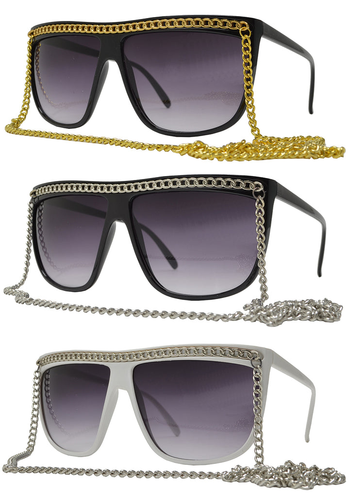 Dynasol Eyewear - Wholesale Sunglasses - 8424 Chain - Modern Hip Hop Flat Top Plastic Sunglasses with Hanging Chain - sunglasses