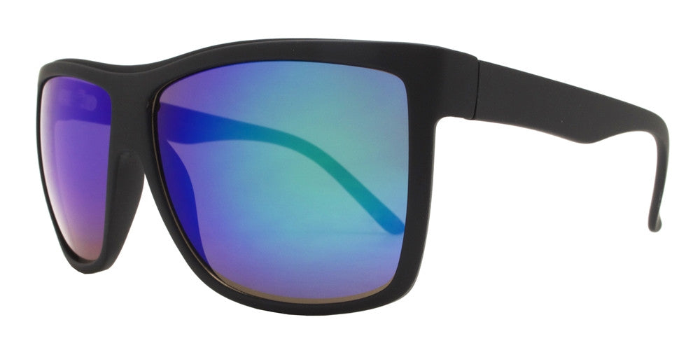Wholesale - 8529 RVC - Large Square Modern Sports Plastic Sunglasses with Color Mirror Lens - Dynasol Eyewear