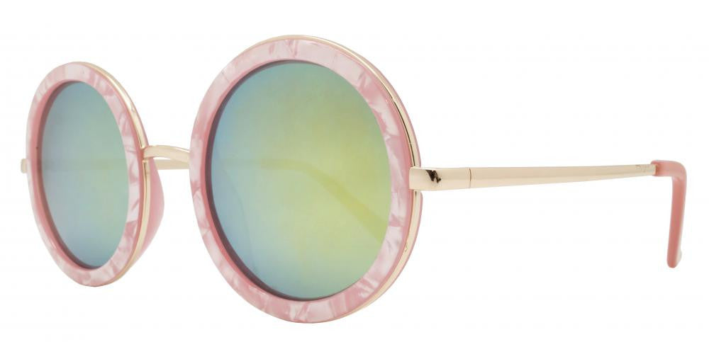 Wholesale - 8530 - Round Marble Finish Metal Accents Plastic Sunglasses - Dynasol Eyewear