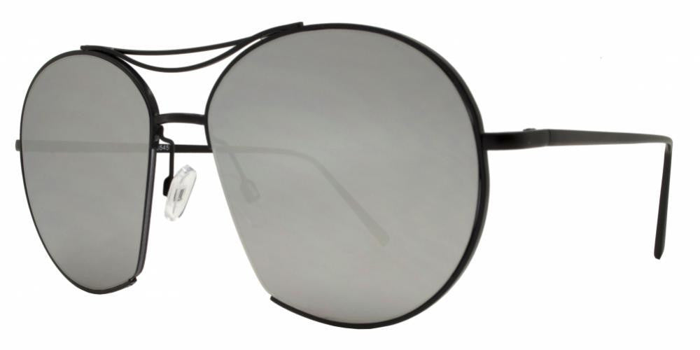 Dynasol Eyewear - Wholesale Sunglasses - 8545 - Round Cut Off Metal Sunglasses with Brow Bar - sunglasses
