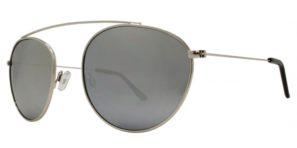 Wholesale - 8549 - Round Metal Oval Shaped Sunglasses with No Bridge - Dynasol Eyewear