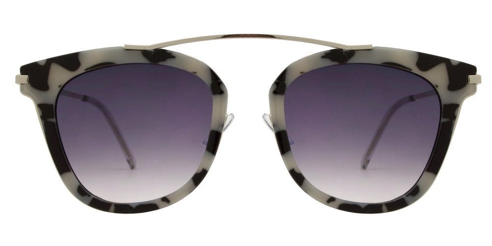 Dynasol Eyewear - Wholesale Sunglasses - 8559 - Modern Horn Rimmed Plastic Sunglasses with No Bridge - sunglasses