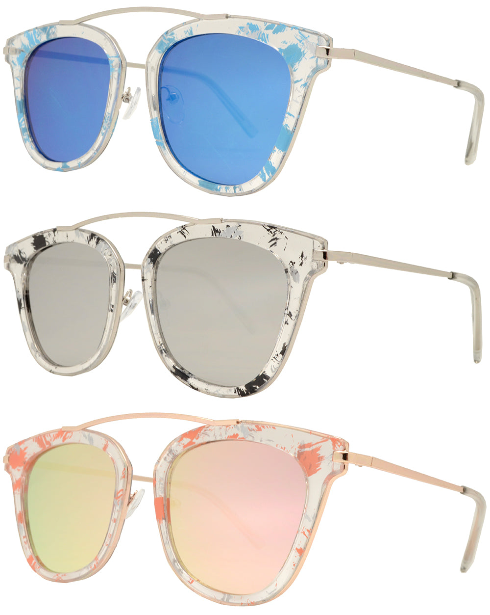 8561 RVC - Women's Fashion Sunglasses with Color Mirror Lens and Brow Bar no Bridge