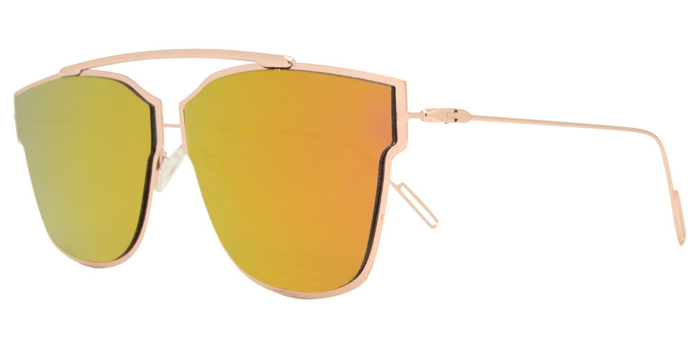 Wholesale - 8573 - Retro Horn Rimmed Metal Sunglasses with Color Mirror Lens - Dynasol Eyewear
