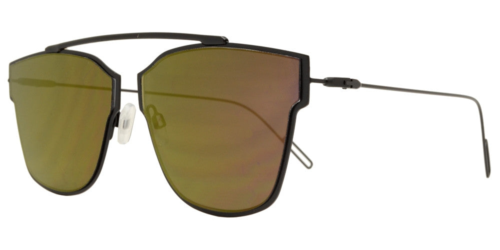Dynasol Eyewear - Wholesale Sunglasses - 8573 - Retro Horn Rimmed Metal Sunglasses with Color Mirror Lens - sunglasses
