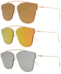 8573 - Retro Horn Rimmed Metal Sunglasses with Color Mirror Lens
