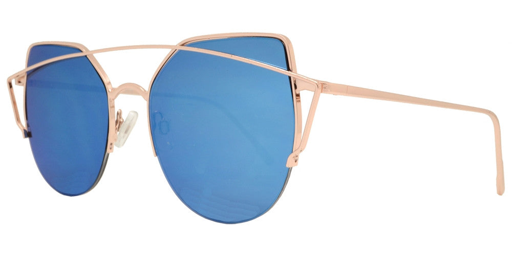 Wholesale - 8579 - Rimless Cat Eye Sunglasses with Color Mirror Lens - Dynasol Eyewear