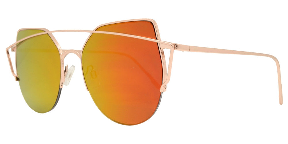 Dynasol Eyewear - Wholesale Sunglasses - 8579 - Rimless Cat Eye Sunglasses with Color Mirror Lens - sunglasses