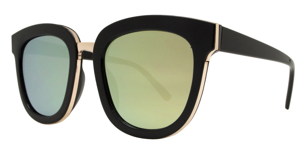 Dynasol Eyewear - Wholesale Sunglasses - 8584 - Chunky Plastic Sunglasses with Color MIrror Flat Lens - sunglasses