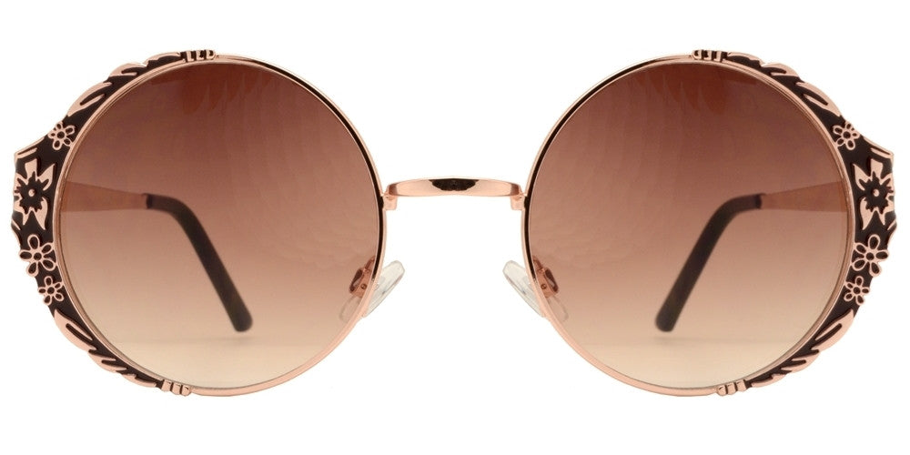 Dynasol Eyewear - Wholesale Sunglasses - 8586 - Women's Round Metal Sunglasses with Flower Design - sunglasses