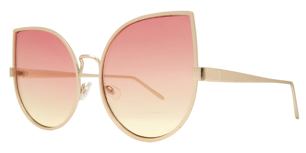 Dynasol Eyewear - Wholesale Sunglasses - 8589 Color - Women's Metal Cat Eye Sunglasses with Flat Lens - sunglasses