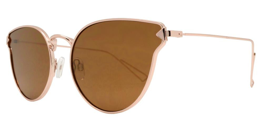 Wholesale - 8602 RVC - Women's Small Horn Rimmed Cat Eye Sunglasses with Color Mirror Lens - Dynasol Eyewear