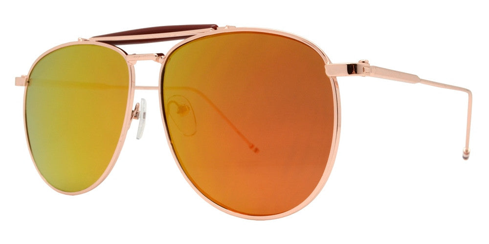 Dynasol Eyewear - Wholesale Sunglasses - 8612 RVC - Modern Metal Aviator with Color Mirror Flat Lens - sunglasses