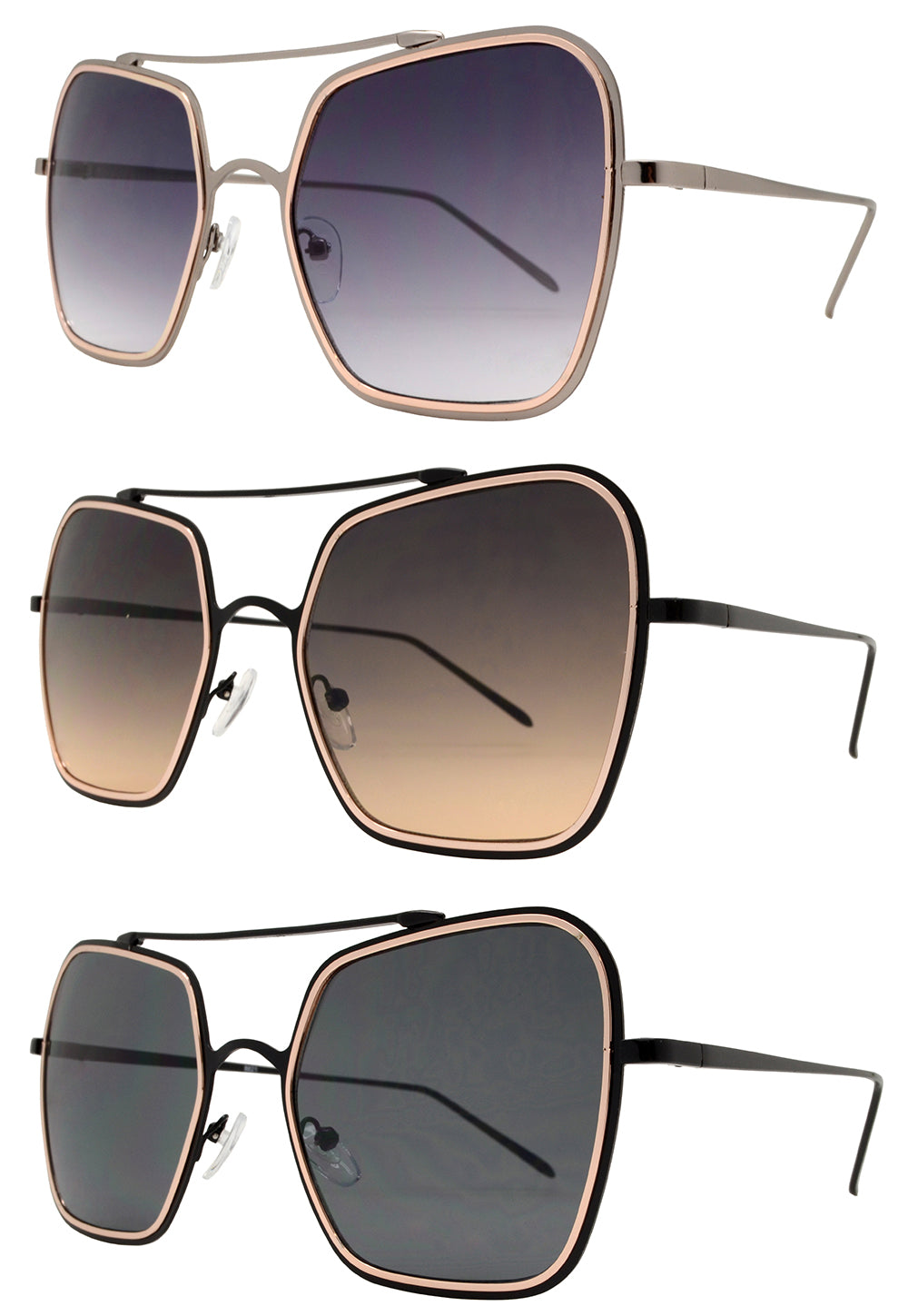8621 - Modern Square Metal Sunglasses